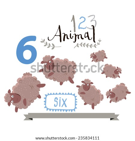 Children alphabet of animals and figures. Number six. Vector illustration. Part of a large set of vector numbers and animals - stock vector