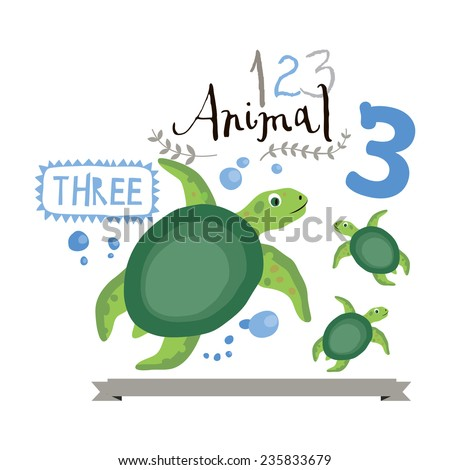 Children alphabet of animals and figures. Number three. Vector illustration. Part of a large set of vector numbers and animals - stock vector