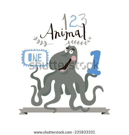 Children alphabet of animals and figures. One figure. Vector illustration. - stock vector