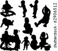 children and babies silhouettes - vector - stock vector