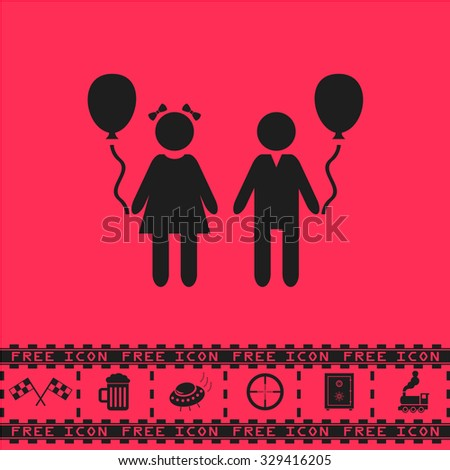 Children and Balloon. Black flat vector icon and bonus symbol - Racing flag, Beer mug, Ufo fly, Sniper sight, Safe, Train on pink background - stock vector
