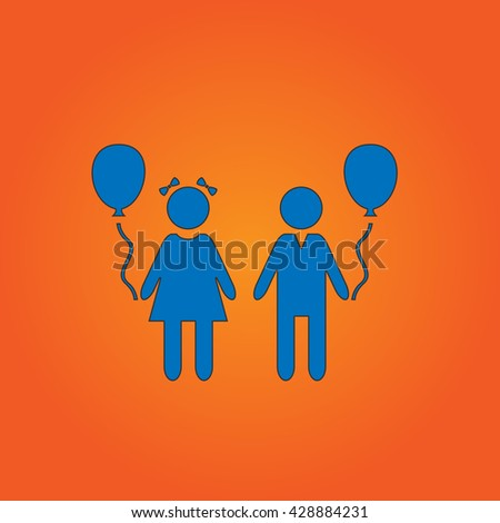 Children and Balloon. Blue flat icon with black stroke on orange background. Collection concept vector pictogram for infographic project and logo - stock vector