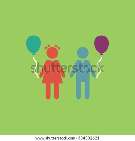 Children and Balloon. Colorful vector icon. Simple retro color modern illustration pictogram. Collection concept symbol for infographic project and logo - stock vector
