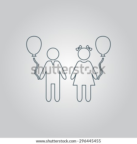 Children and Balloon. Flat web icon or sign isolated on grey background. Collection modern trend concept design style vector illustration symbol - stock vector