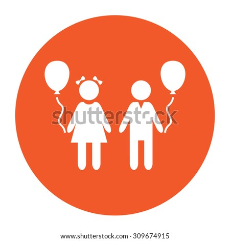 Children and Balloon. Flat white symbol in the orange circle. Vector illustration icon - stock vector