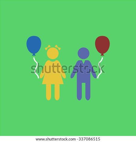 Children and Balloon. Icon Vector. Icon Picture. Icon Graphic. Icon Art. Icon JPG. Icon JPEG. Icon EPS. Icon AI. Icon FLAT. Icon SIMPLE - stock vector
