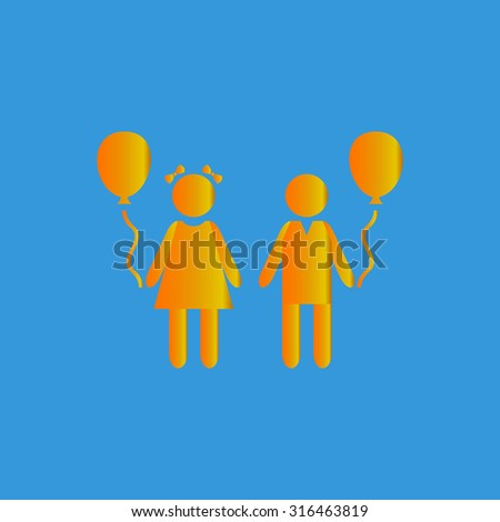 Children and Balloon. Orange vector icon isolated on blue background. Illustration trend symbol - stock vector