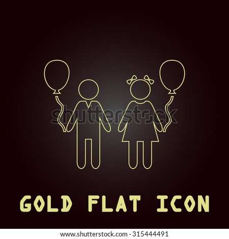 Children and Balloon. Outline gold flat pictogram on dark background with simple text.Vector Illustration trend icon - stock vector