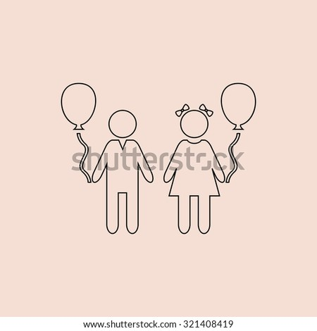 Children and Balloon. Outline vector icon. Simple flat pictogram on pink background - stock vector