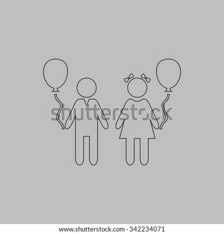 Children and Balloon. Outlne vector icon on grey background - stock vector