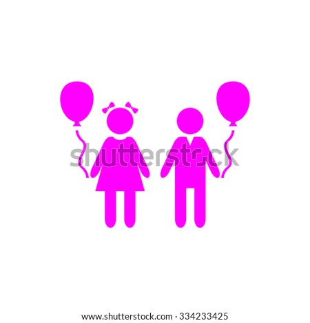 Children and Balloon. Pink flat icon. Simple vector illustration pictogram on white background - stock vector