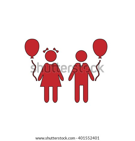 Children and Balloon. Red flat simple modern illustration icon with stroke. Collection concept vector pictogram for infographic project and logo - stock vector