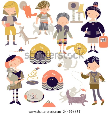 children and cats - stock vector