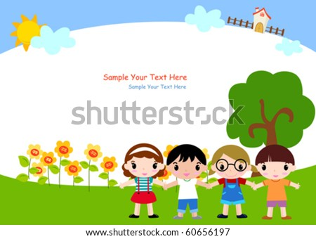 Children and frame - stock vector