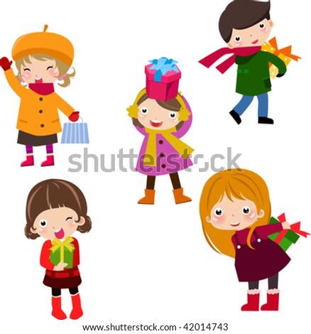 children and gift box 1 - stock vector