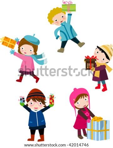 children and gift box 2 - stock vector