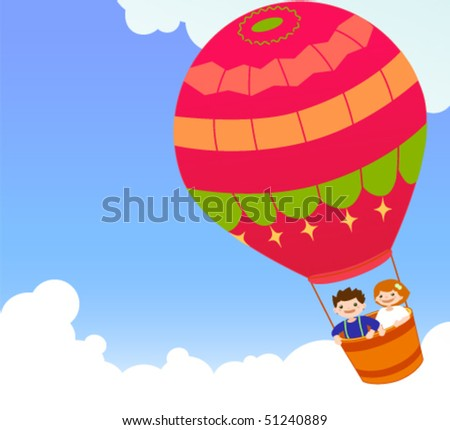 Children and hot air balloon.Illustration of children riding in a colorful hot air balloon. - stock vector