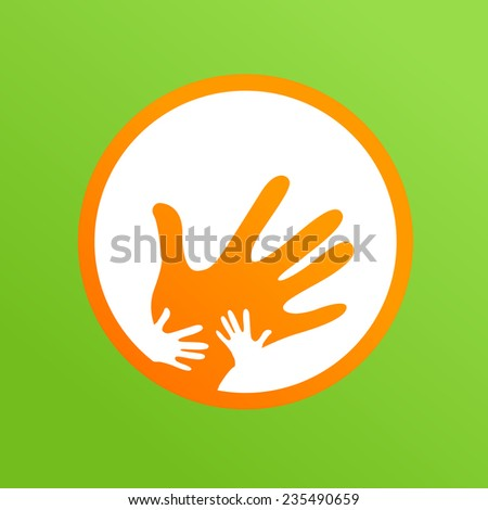 children and mother hands together