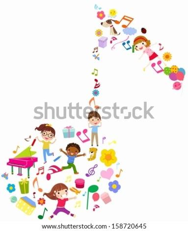 children and music - stock vector