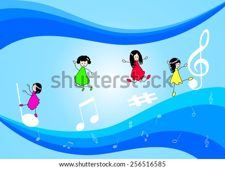 Children and music notes-Vector musical background with  music notes and waves
