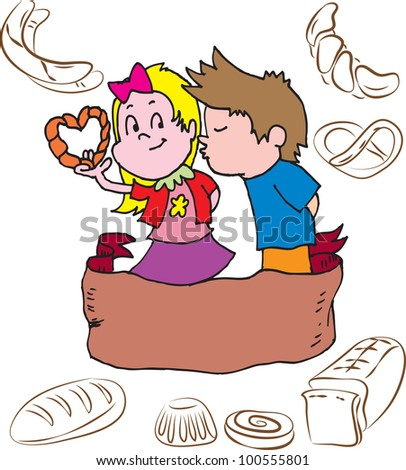 Children and pastry - stock vector
