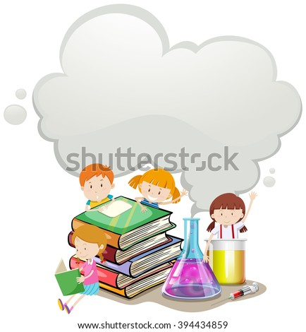 Children and science lab illustration