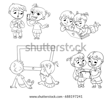 coloring pages kids talking - photo#15