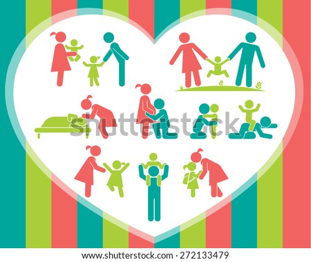 Children and their parents. Pictogram presenting parental love and care for children. Expecting baby, playing with kids, hugging, preparing for school, putting children to bed. Vector  illustration. - stock vector