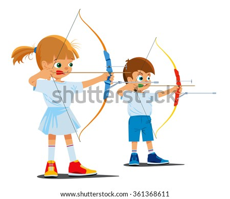Children are engaged in sports archery. Vector illustration