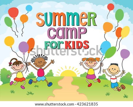 children are jumping  summer background  cartoon funny  vector character. illustration camp for kids balloon - stock vector