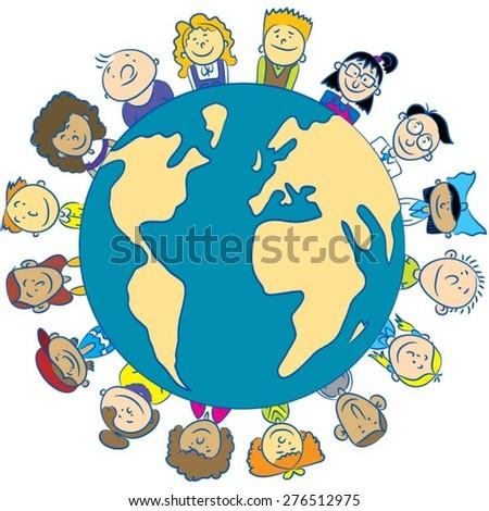 Children around the Earth - stock vector