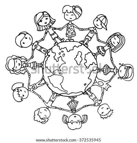 Around the world stock images royalty free images for Children of the world coloring pages