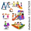 children at the playground - stock vector