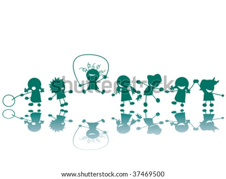Children at the playground silhouettes, vector art - stock vector