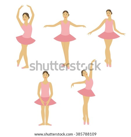 Children ballet studio. Young ballerina dancing set. Girl ballet dancer. Young girl training ballet.Young girl  in ballet studio. Children ballet vector figure set. - stock vector