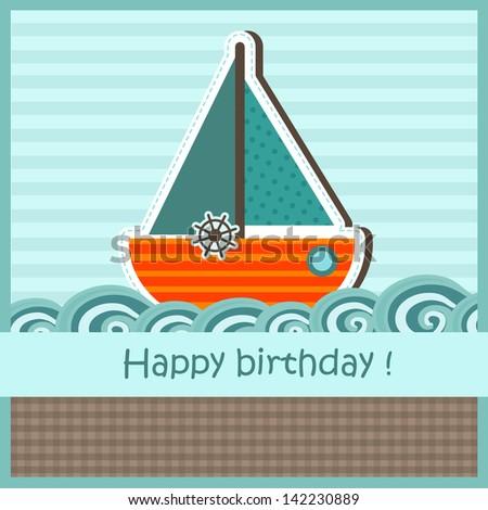 Children birthday card - stock vector