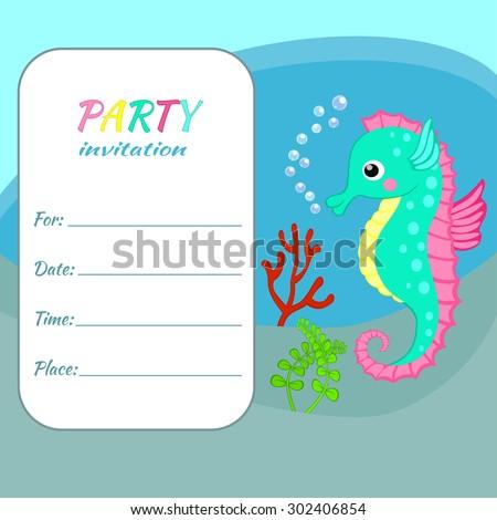 Children birthday party invitation card template stock vector 2018 children birthday party invitation card template colorful seahorse on sea bottom background funny sea animal stopboris Gallery