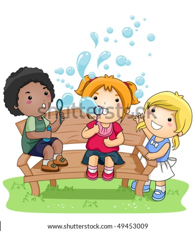 Children blowing bubbles in the Park - Vector