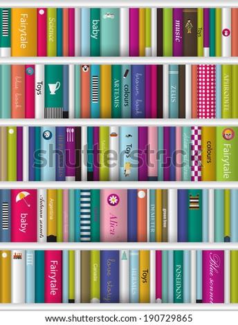 Children book shelf.  - stock vector