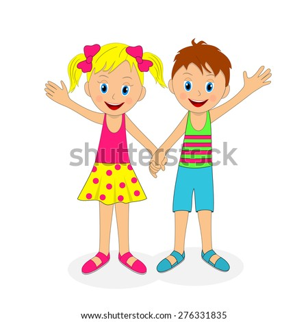 children,boy and girl holding hands and waving their hand, illustration, vector - stock vector