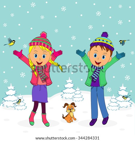 children, boy and girl smiling with their hands up in winter,illustration,vector - stock vector