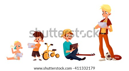 Children boy of different ages played in tablet and did not play in street, vector cartoon concept of todays children, children sit and chat on Internet, four boy looking at smartphone, kids phone - stock vector