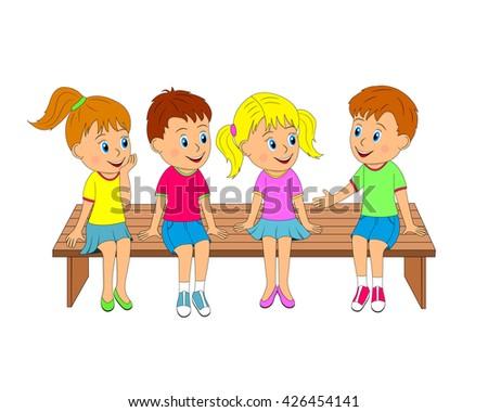 children,boys and girls on the bench,communicate. illustration, vector - stock vector