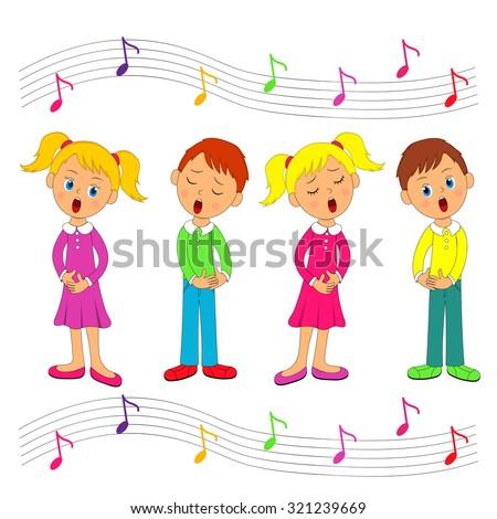 children, boys and girls singing, illustration, vector - stock vector