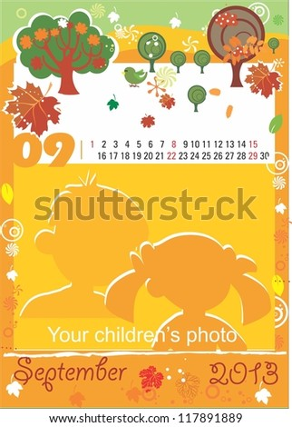 Children calendar for the month of September