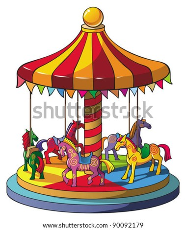 Children carousel with colorful horses, merry go round, vector illustration