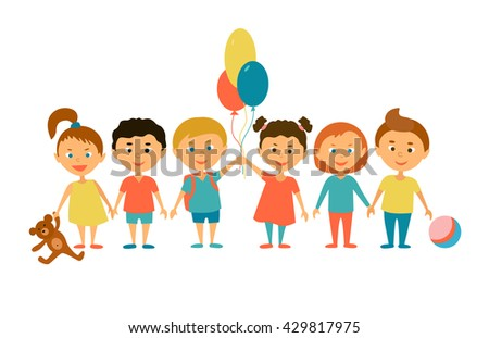 Children. Cartoon characters. Friends. Funny kids with balloons and toys. - stock vector