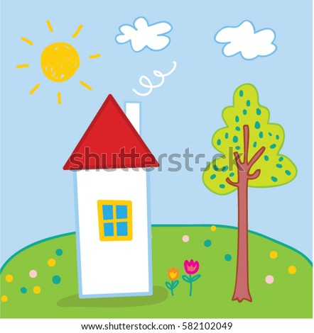 Children Cartoon drawing of the house and tree. Vector illustration.