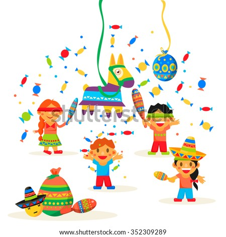 Children celebrate Posada, breaking the traditional donkey Pinata play vector illustration - stock vector