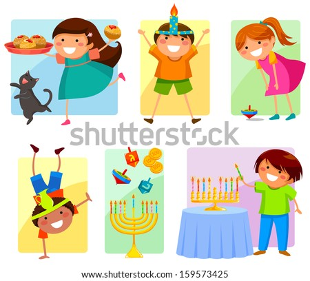 children celebrating Hanukkah - stock vector